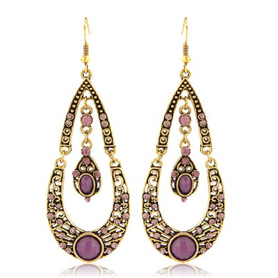 Fair Purple Water Drop Shape With Diamond Design Alloy Korean Earrings