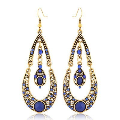 Extreme Blue Water Drop Shape With Diamond Design Alloy Korean Earrings