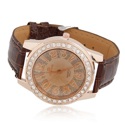Torrid Brown Diamond Decorated Round Shape Design Alloy Fashion Watches