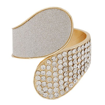 Hooters Silver Gold Diamond Inlaid Exaggerated Wide Design Alloy Fashion Bangles