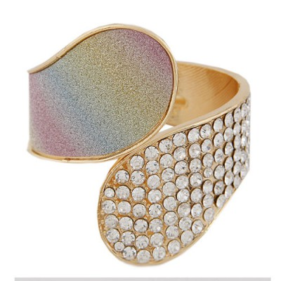 Western Multicolor Diamond Inlaid Exaggerated Wide Design Alloy Fashion Bangles