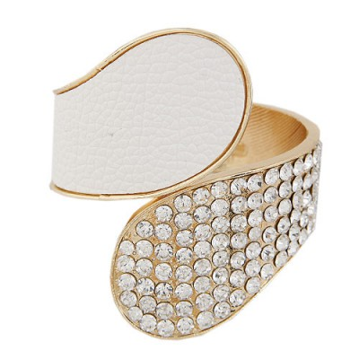 Rebel White Diamond Inlaid Exaggerated Wide Design Alloy Fashion Bangles