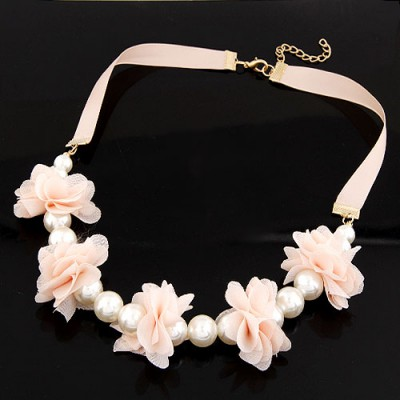 Rave Pink Sweet Flower Pearl Decorated Pearl Bib Necklaces