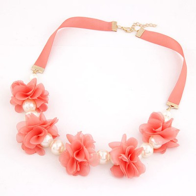 Greek Watermelon Red Sweet Flower Pearl Decorated Pearl Bib Necklaces