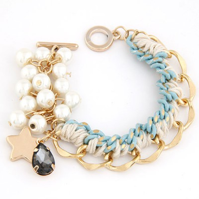 Players Beige Metal Chain Weaving Pearl  Design Alloy Korean Fashion Bracelet