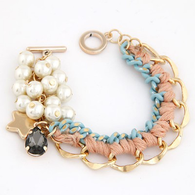 Ultra Pink Metal Chain Weaving Pearl  Design Alloy Korean Fashion Bracelet