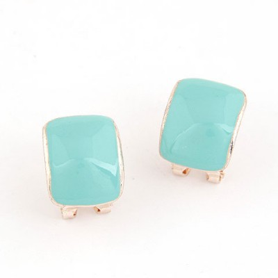 Free Blue Candy Color Bend Simple Design Alloy Stud Earrings