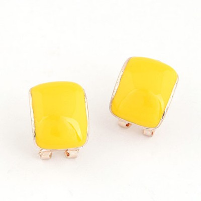 Tapered Yellow Candy Color Bend Simple Design Alloy Stud Earrings