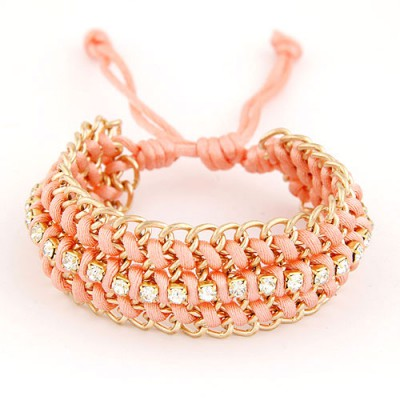 Connor Pink Multilayer Metal Chain Weaving Rope Design Alloy Korean Fashion Bracelet