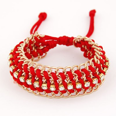Profession Red Multilayer Metal Chain Weaving Rope Design Alloy Korean Fashion Bracelet