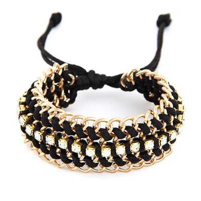 Avalon Black Multilayer Metal Chain Weaving Rope Design Alloy Korean Fashion Bracelet