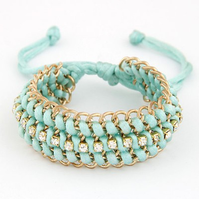 Folding Light Blue Multilayer Metal Chain Weaving Rope Design Alloy Korean Fashion Bracelet