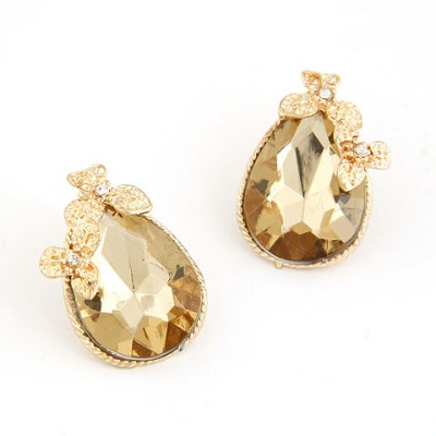 Faddish Champagne Water Drop Shape Design Alloy Stud Earrings