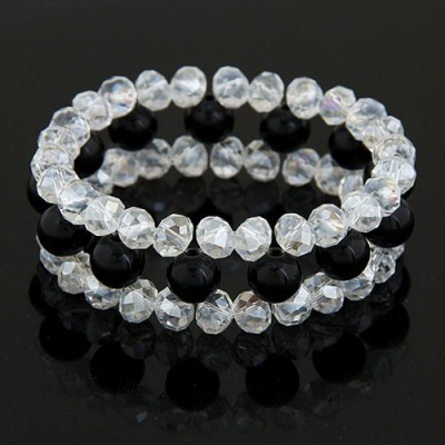 Online Black Ball Shape Gemstone Decorated Three Layers Design Imitation Crystal Korean Fashion Bracelet
