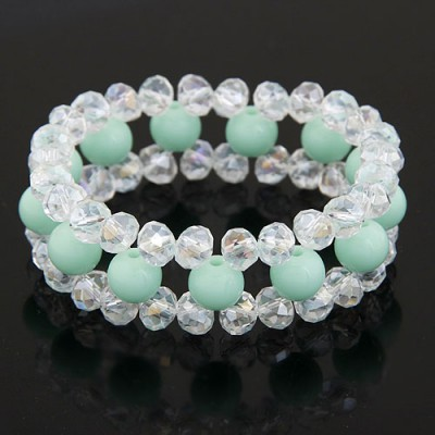 Sparrow Light Blue Ball Shape Gemstone Decorated Three Layers Design Imitation Crystal Korean Fashion Bracelet