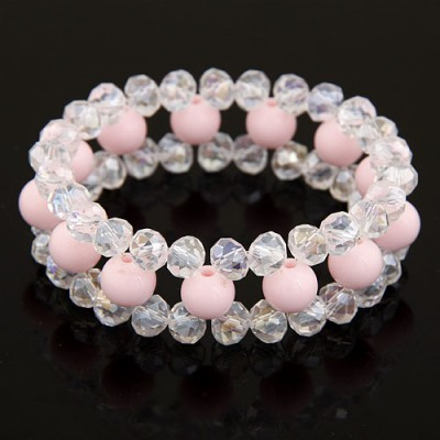 Nautical Pink Ball Shape Gemstone Decorated Three Layers Design Imitation Crystal Korean Fashion Bracelet