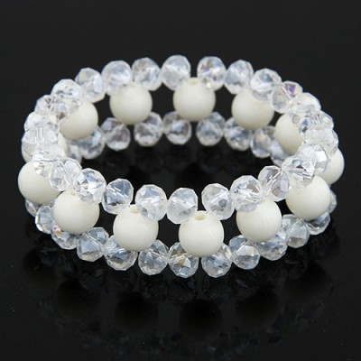 Korean White Ball Shape Gemstone Decorated Three Layers Design Imitation Crystal Korean Fashion Bracelet