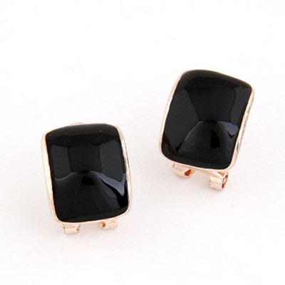 Moving Black Candy Color Bend Simple Design Alloy Stud Earrings