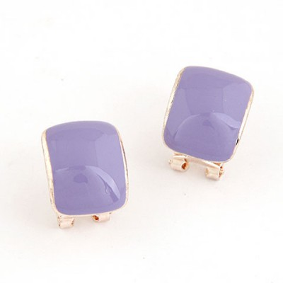 Imitation Purple Candy Color Bend Simple Design Alloy Stud Earrings