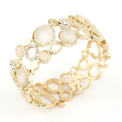 Roll Gold Color Simple Metal Hollow Out Design Alloy Fashion Bangles