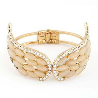 2012 Gold Color Gemstone Decorated Angel Wings Design Alloy Fashion Bangles