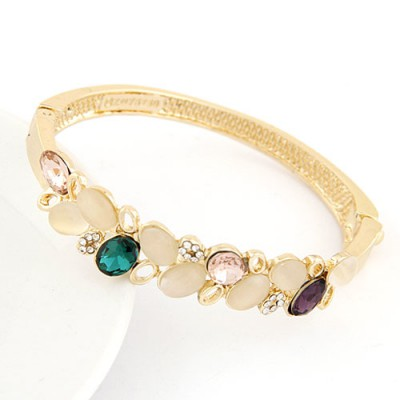 Wrap Multicolor Double Layer Gemstone Decorated Alloy Fashion Bangles