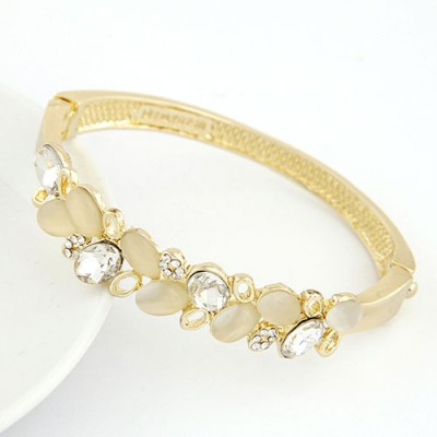 Smart Gold Color Double Layer Gemstone Decorated Alloy Fashion Bangles