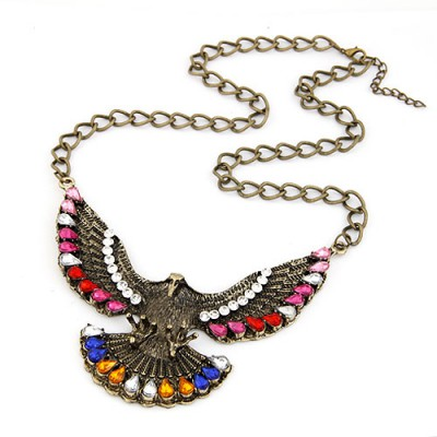 High Multicolor Vintage Eagle Pendant Design Alloy Bib Necklaces