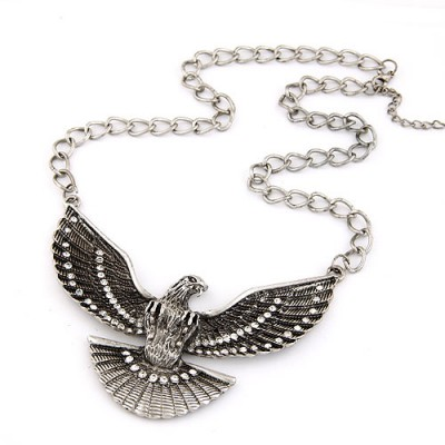 Crucifix White Vintage Eagle Pendant Design Alloy Bib Necklaces