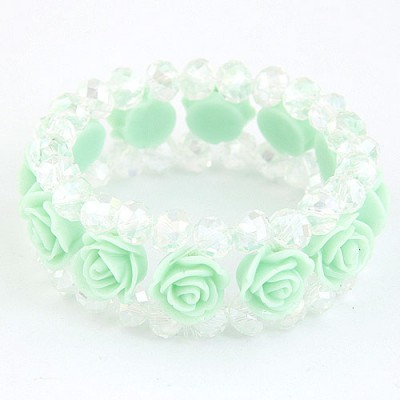 Golf Light Green Rose Decorated Three Layers Design Imitation Crystal Korean Fashion Bracelet