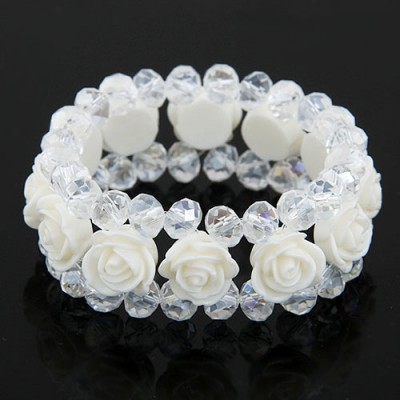 Elastic White Rose Decorated Three Layers Design Imitation Crystal Korean Fashion Bracelet