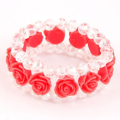 Expression Red Rose Decorated Three Layers Design Imitation Crystal Korean Fashion Bracelet