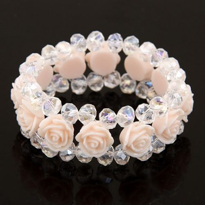 Aquamarine Light Pink Rose Decorated Three Layers Design Imitation Crystal Korean Fashion Bracelet