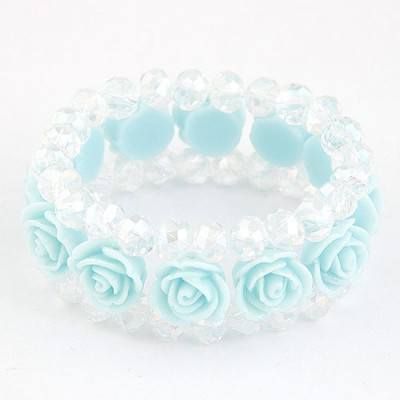 Inspiratio Light Blue Rose Decorated Three Layers Design Imitation Crystal Korean Fashion Bracelet