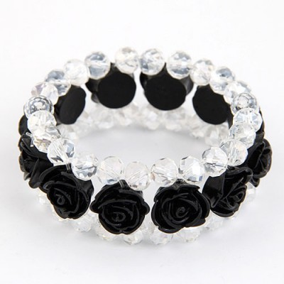 Sling Black Rose Decorated Three Layers Design Imitation Crystal Korean Fashion Bracelet