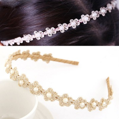Tattoo Khaki Pearl Decorated Flower Design Lace Hair band hair hoop