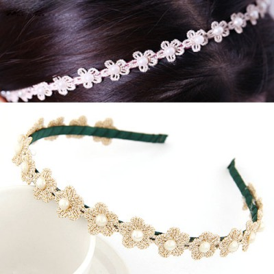 Tie Green Pearl Decorated Flower Design Lace Hair band hair hoop