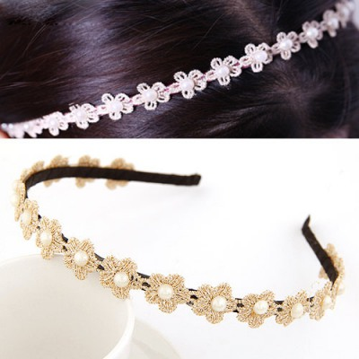 Inspired Black Pearl Decorated Flower Design Lace Hair band hair hoop