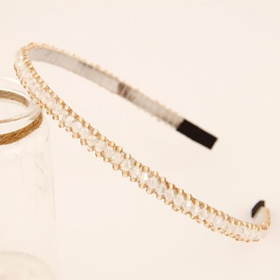 Digital White Handmade Beads Decorated Design Alloy Hair band hair hoop