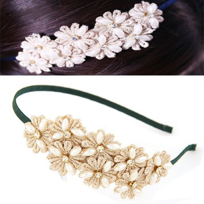 Executive Green Sweet Daisy Flower Decorated Lace Hair band hair hoop