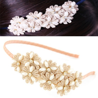 Graduation Light Pink Sweet Daisy Flower Decorated Lace Hair band hair hoop