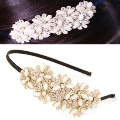 Art Black Sweet Daisy Flower Decorated Lace Hair band hair hoop