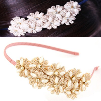 Current Pink Sweet Daisy Flower Decorated Lace Hair band hair hoop