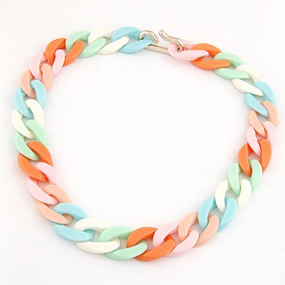 Diaper Multicolor Candy Color Simple Chain Design CCB Chokers