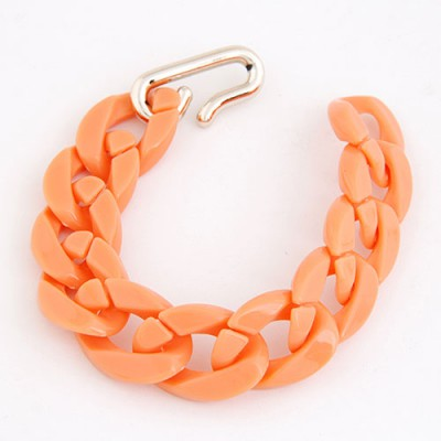 Fancy Orange Candy Color Simple Chain Design CCB Korean Fashion Bracelet