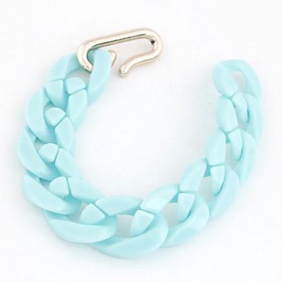 Korean Light Blue Candy Color Simple Chain Design CCB Korean Fashion Bracelet