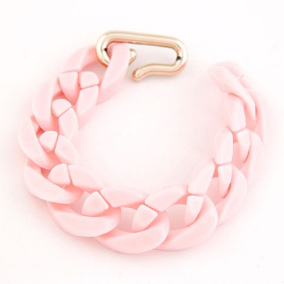 Peterbilt Pink Candy Color Simple Chain Design CCB Korean Fashion Bracelet