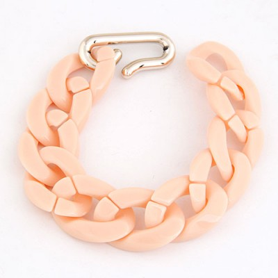 Fine Light Orange Candy Color Simple Chain Design CCB Korean Fashion Bracelet