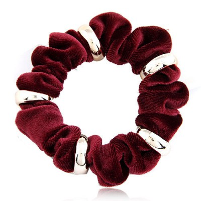 Bead Claret-Red Metal Circle Decorated Wave Shape Design Alloy Hair band hair hoop