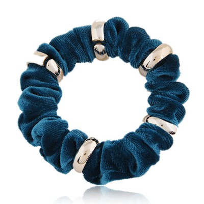 Real Blue Metal Circle Decorated Wave Shape Design Alloy Hair band hair hoop